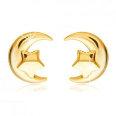 Ohrstecker aus 585 Gold – Halbmond mit einem fünfzackigen Stern
