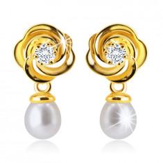 14K Gelbgold Ohrstecker – Blume mit ineinander verschlungenen Blättern, klarer Zirkon, weiße Perle