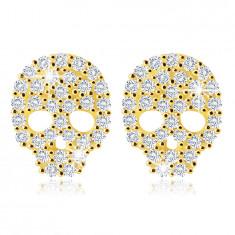 14K Gelbgold Ohrringe – ein Schädel mit Zirkonen in klarer Farbe