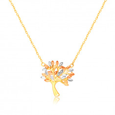 Halskette aus kombiniertem 585 Gold – verzweigter Baum des Lebens mit Blättern