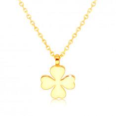 585 Gelbgold Halskette – vierblättriges Kleeblatt mit herzförmigen Blättern, Glücks-Symbol