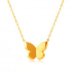 585 Gelbgold Halskette – Schmetterling mit satinierter Oberfläche
