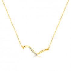 Halskette aus 14K Gold – asymmetrische gewellte Linie, klare Zirkone