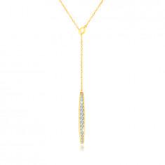 14K Gold Halskette – ein kleines Boot mit klaren Zirkonen besetzt