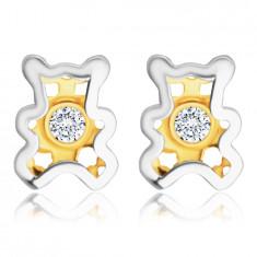 Kinder Ohrringe aus kombiniertem 585 Gold – Teddybär mit einem klaren Zirkon in der Mitte