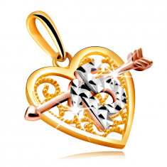 Anhänger in kombiniertem Gold in Form eines Herzens mit einem Pfeil – dekorative Nummer 15