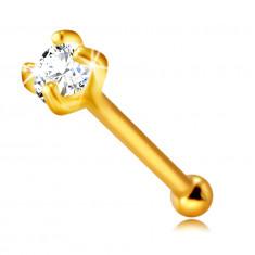 Nasenpiercing aus 14K Gold – klarer runder Zirkon unter vier Krappen, 2 mm