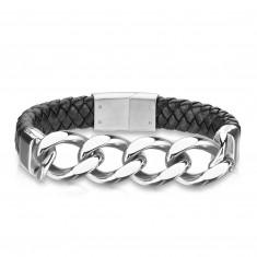 Lederarmband in schwarzer Farbe – vier abgeschrägte spiegelglänzende Glieder in silberner Farbe