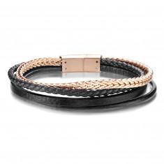 Lederarmband – drei schwarze Streifen, ein Stahlstreifen in Kupferfarbe