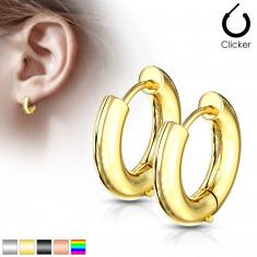 Ohrringe aus Chirurgenstahl – breitere Kreise mit glatter Oberfläche, Durchmesser 12 mm