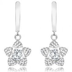 Rhodinierte 925 Silber Ohrringe – Blume, großer geschliffener Zirkon, Blütenblätter mit eingebetteten Zirkonen