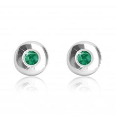 9K Weißgold Ohrringe – grüner Zirkon, runde breitere Fassung, glänzende und glatte Oberfläche