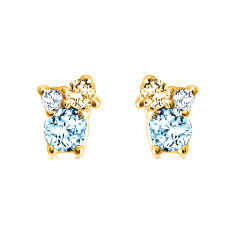 Ohrringe aus 14K Gold – Steine in verschiedenen Größen, Zitrin, blauer und Schweizer Topas