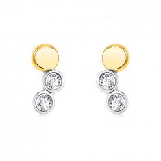 Ohrringe aus kombiniertem 14K Gold – spiegelglänzender Kreis, runde Fassungen mit einem Zirkon