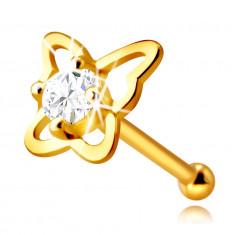 Gold Nasenpiercing aus 14K Gold – Schmetterling-Kontur mit einem runden klaren Zirkon, 2,25 mm
