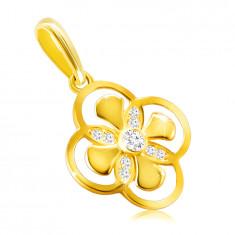 Anhänger aus 14K Gold – Blume mit kombinierten Blütenblättern, Zirkon in einer Fassung