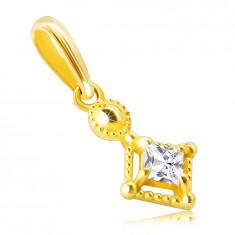Anhänger aus 14K Gold – kleiner glitzernder quadratischer Zirkon in einer dekorativen Fassung