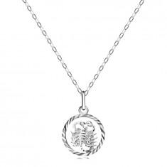 Halskette - Kette und Anhänger des Sternzeichens SKORPION, Silber 925