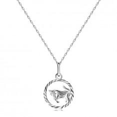 Halskette Silber 925 - spiralförmige Kette, Sternzeichen STIER