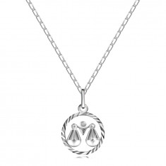"""Halskette aus Silber 925, Kette und Sternzeichen """"WAAGE"""""""