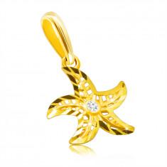 Diamant Anhänger aus 14K Gelbgold – Seestern Motiv, runder klarer Brillant