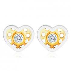 Diamantohrringe aus 14K kombiniertem Gold – Herz, runder klarer Brillant
