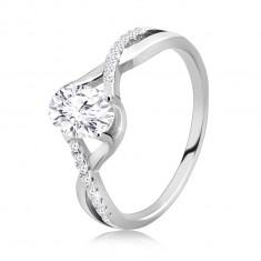 925 Silber Verlobungsring – ovaler klarer Zirkon, ineinander verschlungene gewellte Arme