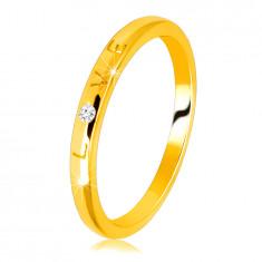 """14K Gelbgold Diamantring – Aufschrift """"LOVE"""" mit einem Brillanten, glatte Oberfläche, 1,5 mm"""
