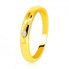 """Diamantring aus 585 Gelbgold – Aufschrift """"LOVE"""" mit einem Brillanten, glatte Oberfläche, 1,6 mm"""