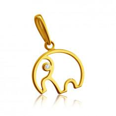 Diamant Anhänger aus 14K Gelbgold – Umriss eines Elefanten mit einem Rüssel, klarer Brillant