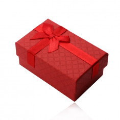 Rechteckige Schachtel für Ring, Anhänger und Ohrringe, rote matte Oberfläche, Schleife