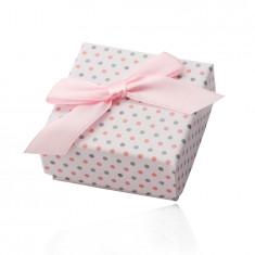 Weiße Geschenkschachtel für Ringe oder Ohrringe, rosa und graue Punkte, Schleife