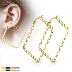 316L Stahl Ohrringe - Quadrate mit schrägen Einschnitten, verschiedene Farben, IP Beschichtung