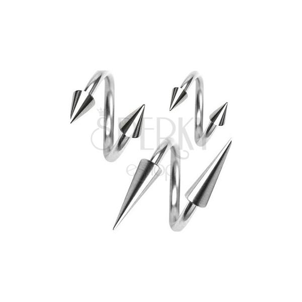 Piercing aus chirurgischem Stahl, Spirale mit Spitze, 1,2 mm