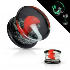 Ohr plug aus Pyrex Glas - mit einem weißen Pilz mit einem roten Hut gegossen
