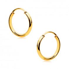 Gold Creolen aus 9K Gold – dünne abgerundete Ringschiene, glatte und glänzende Oberfläche, 13mm
