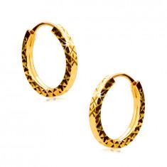 Ohrringe aus 375 Gelbgold - Reifen mit Diamantschliff verziert, quadratische Ringschiene, 12 mm