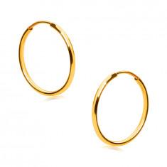 Gold Creolen in 9K Gold - dünne runde Ringschiene, glatte und glänzende Oberfläche, 15 mm