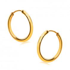 Gold Ohrringe in 9K Gold, Reifen, runde Ringschiene, glatte und glänzende Oberfläche, 14 mm