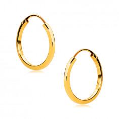 Creolen aus 375 Gold - dünne quadratische Ringschiene, glänzende Oberfläche, 14 mm