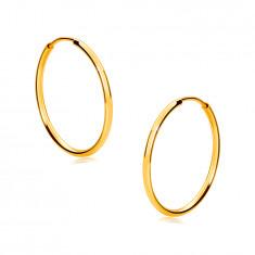 Gold Creolen aus 9K Gold – dünne abgerundete Ringschiene, glänzende Oberfläche, 17 mm