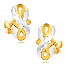 9K Gold Ohrringe - Unendlichkeits-Symbol, keltischer Knoten aus kombiniertem Gold, Ohrstecker