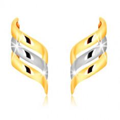 Ohrstecker aus kombiniertem 375 Gold - drei glänzende spiralförmig gedrehte Bänder