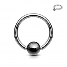 316L Stahl Piercing - Kreis mit Kugel in dunkelgrauer Farbe