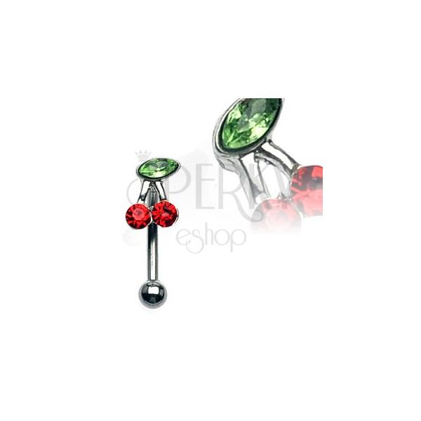 Augenbrauenpiercing - Kirsche mit roten und grünen Zirkonen