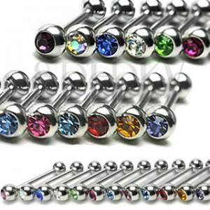 Zungenpiercing mit Zirkon in verschiedenen Farben