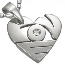 Silberfarbener Edelstahlanhänger, glänzendes Herz mit Schlitzlöchern und Zirkonia