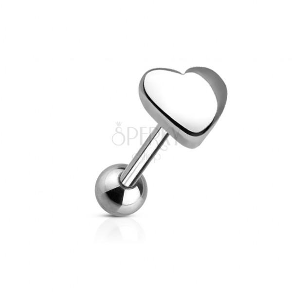 Zungenpiercing mit einem großen Herzen