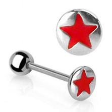 Zungenpiercing mit einem roten Stern