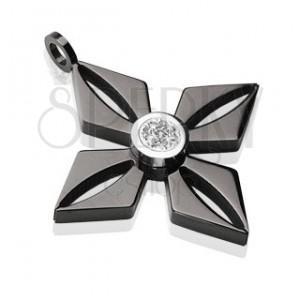 Schwarzer Chirurgenstahlanhänger - Blume mit glanzvollem klarem Zirkonia